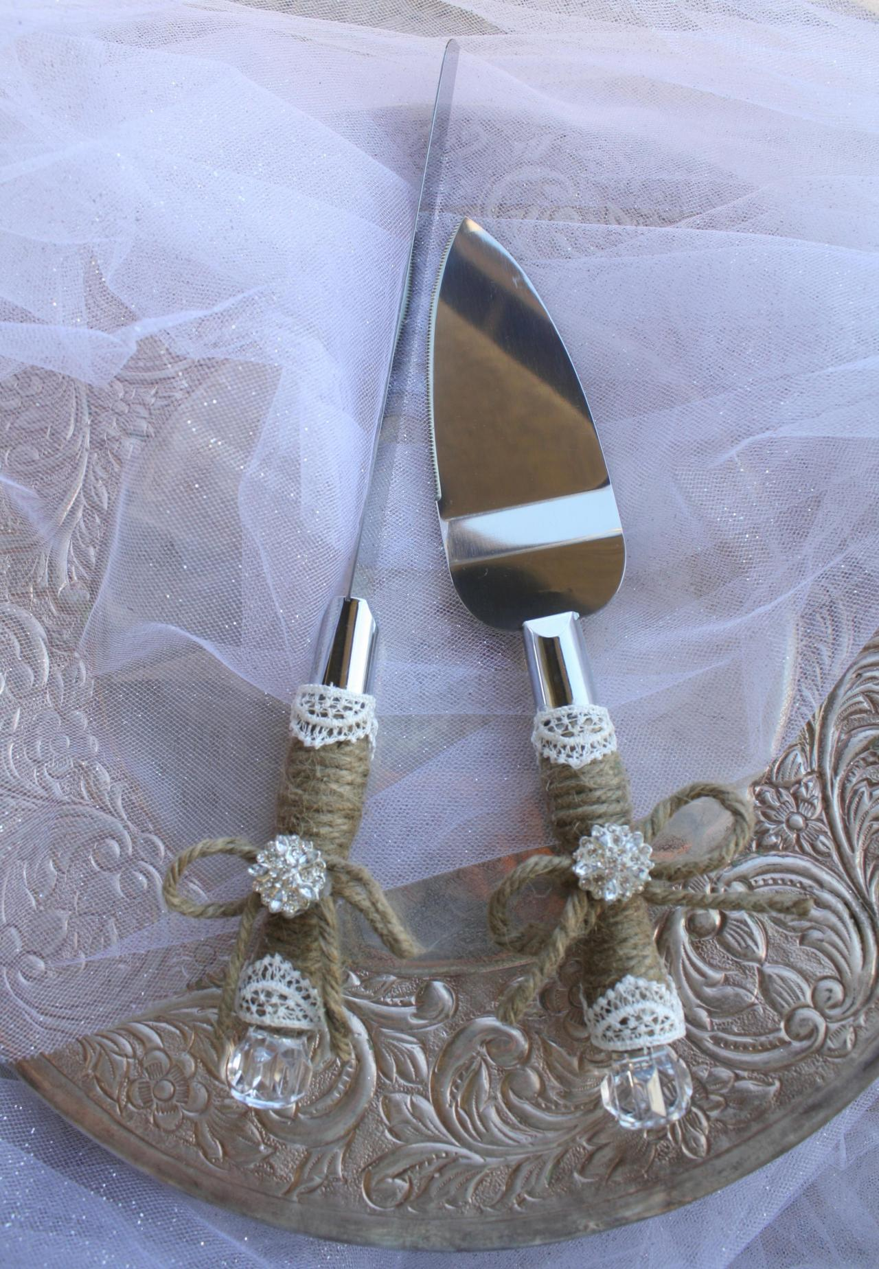 Wedding Cake Server And Knife Set - Country Rustic Chic Wedding -Cake Server Set - Jute and Lace Caker Server