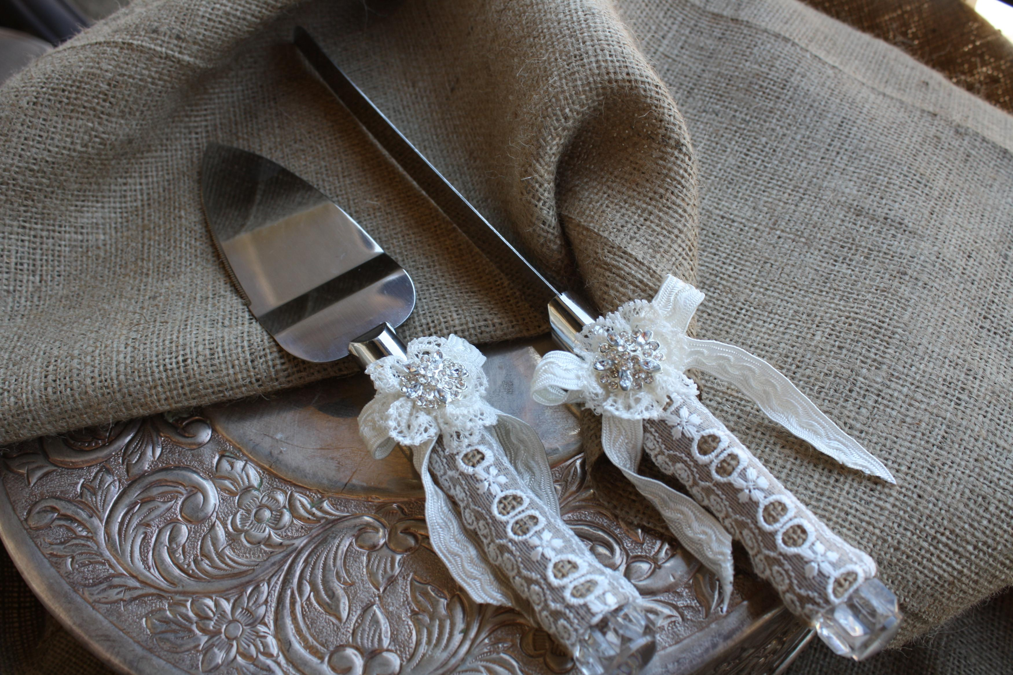 Wedding Cake Server And Knife Set Country Rustic Chic Wedding Cake